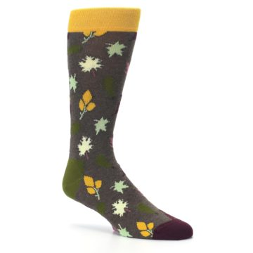 Image of Brown Green Fall Leaf Men's Dress Socks (side-1-26)