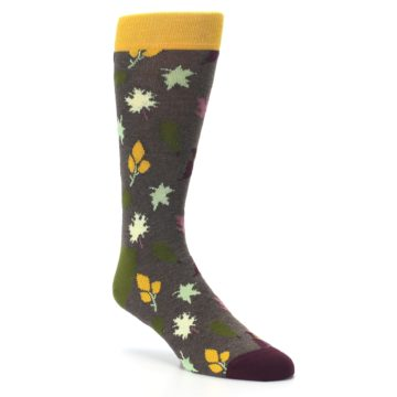 Image of Brown Green Fall Leaf Men's Dress Socks (side-1-27)