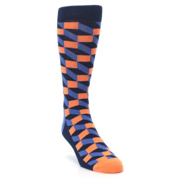 Image of Navy Orange Blue Optic Men's Dress Socks (side-1-front-02)