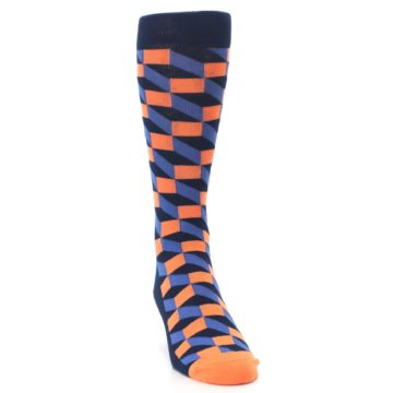 Image of Navy Orange Blue Optic Men's Dress Socks (side-1-front-03)