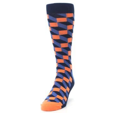 Image of Navy Orange Blue Optic Men's Dress Socks (side-2-front-06)