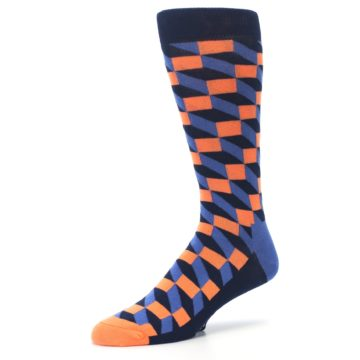 Image of Navy Orange Blue Optic Men's Dress Socks (side-2-09)