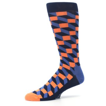 Image of Navy Orange Blue Optic Men's Dress Socks (side-2-10)