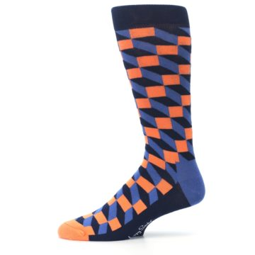 Image of Navy Orange Blue Optic Men's Dress Socks (side-2-11)
