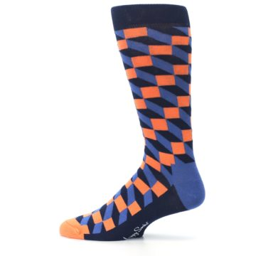 Image of Navy Orange Blue Optic Men's Dress Socks (side-2-12)