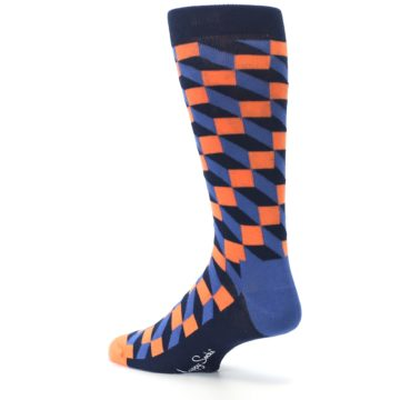 Image of Navy Orange Blue Optic Men's Dress Socks (side-2-back-14)