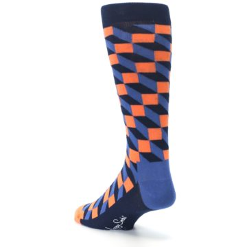 Image of Navy Orange Blue Optic Men's Dress Socks (side-2-back-15)