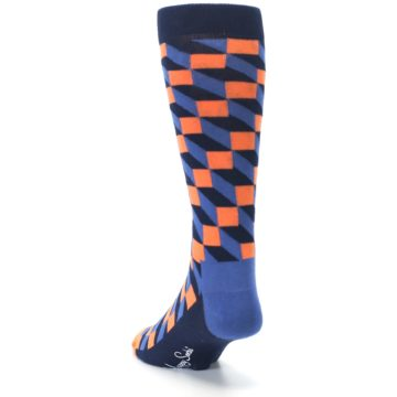 Image of Navy Orange Blue Optic Men's Dress Socks (side-2-back-16)