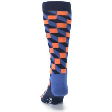 Image of Navy Orange Blue Optic Men's Dress Socks (back-17)
