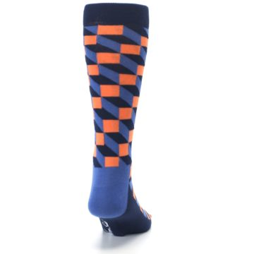 Image of Navy Orange Blue Optic Men's Dress Socks (back-19)