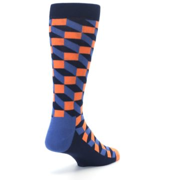Image of Navy Orange Blue Optic Men's Dress Socks (side-1-back-21)