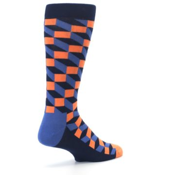 Image of Navy Orange Blue Optic Men's Dress Socks (side-1-back-22)