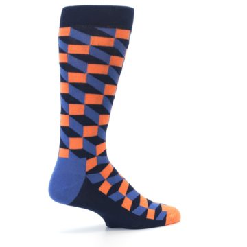 Image of Navy Orange Blue Optic Men's Dress Socks (side-1-23)