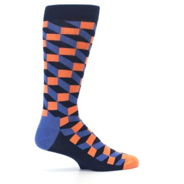 Image of Navy Orange Blue Optic Men's Dress Socks (side-1-24)