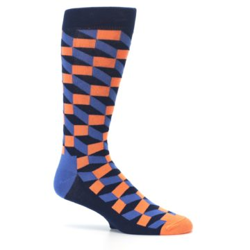 Image of Navy Orange Blue Optic Men's Dress Socks (side-1-25)