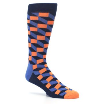 Image of Navy Orange Blue Optic Men's Dress Socks (side-1-26)