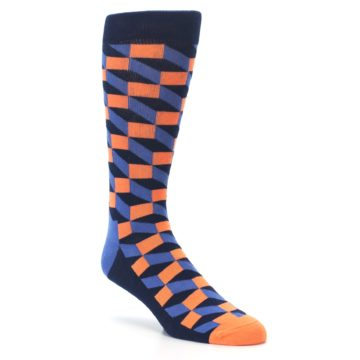 Image of Navy Orange Blue Optic Men's Dress Socks (side-1-27)