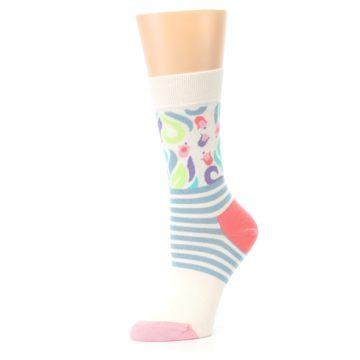 Image of Cream Pink Floral Stripe Women's Dress Socks (side-2-10)