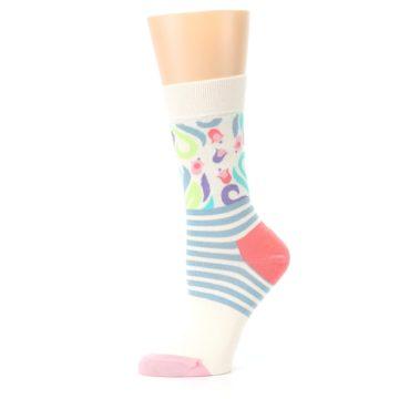 Image of Cream Pink Floral Stripe Women's Dress Socks (side-2-11)