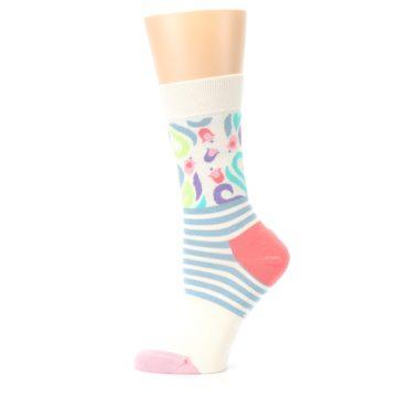 Image of Cream Pink Floral Stripe Women's Dress Socks (side-2-12)