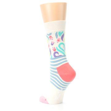 Image of Cream Pink Floral Stripe Women's Dress Socks (side-2-back-15)