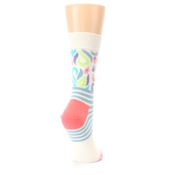 Image of Cream Pink Floral Stripe Women's Dress Socks (side-1-back-21)