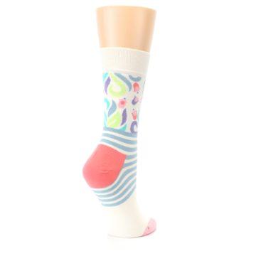 Image of Cream Pink Floral Stripe Women's Dress Socks (side-1-back-22)