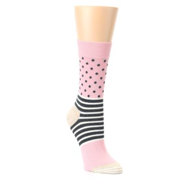Image of Pink Charcoal Dot Stripe Women's Dress Socks (side-1-front-02)