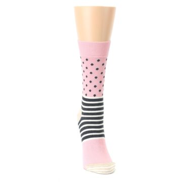 Image of Pink Charcoal Dot Stripe Women's Dress Socks (front-04)