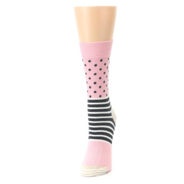 Image of Pink Charcoal Dot Stripe Women's Dress Socks (side-2-front-07)