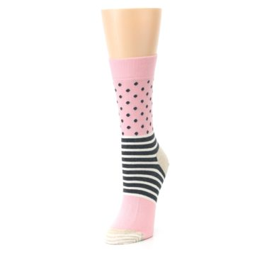 Image of Pink Charcoal Dot Stripe Women's Dress Socks (side-2-front-08)