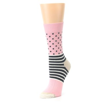Image of Pink Charcoal Dot Stripe Women's Dress Socks (side-2-09)