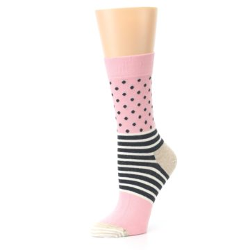 Image of Pink Charcoal Dot Stripe Women's Dress Socks (side-2-10)