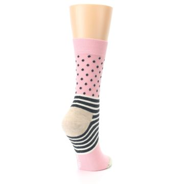 Image of Pink Charcoal Dot Stripe Women's Dress Socks (side-1-back-22)