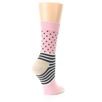 Image of Pink Charcoal Dot Stripe Women's Dress Socks (side-1-23)
