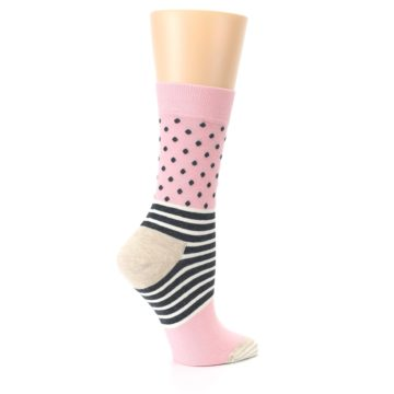 Image of Pink Charcoal Dot Stripe Women's Dress Socks (side-1-24)