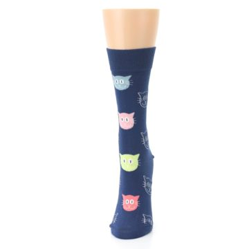 Image of Navy Multi-Color Cats Women's Dress Socks (side-2-front-06)