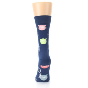 Image of Navy Multi-Color Cats Women's Dress Socks (back-18)