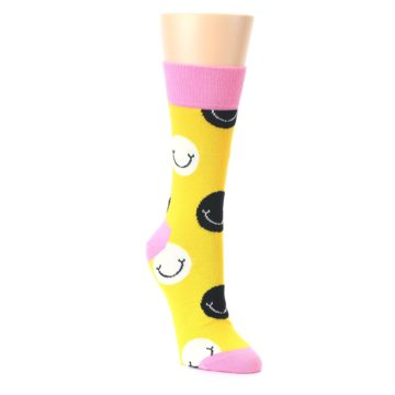 Image of Yellow Smiley Face Women's Dress Socks (side-1-front-02)