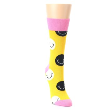 Image of Yellow Smiley Face Women's Dress Socks (side-1-front-03)