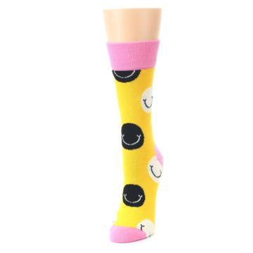 Image of Yellow Smiley Face Women's Dress Socks (side-2-front-07)