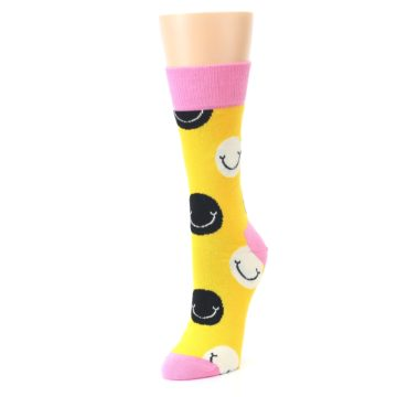 Image of Yellow Smiley Face Women's Dress Socks (side-2-front-08)