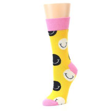 Image of Yellow Smiley Face Women's Dress Socks (side-2-09)