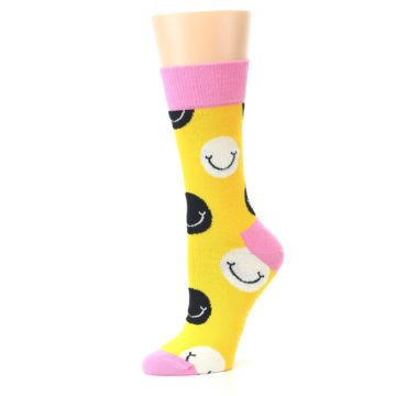 Image of Yellow Smiley Face Women's Dress Socks (side-2-10)