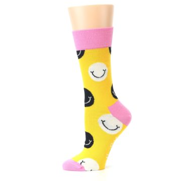 Image of Yellow Smiley Face Women's Dress Socks (side-2-11)
