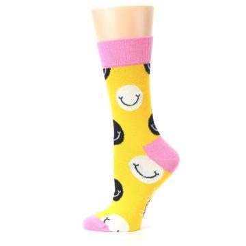 Image of Yellow Smiley Face Women's Dress Socks (side-2-12)