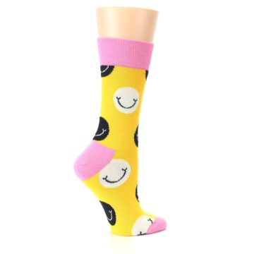 Image of Yellow Smiley Face Women's Dress Socks (side-1-24)