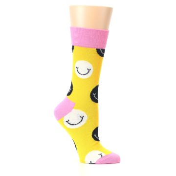 Image of Yellow Smiley Face Women's Dress Socks (side-1-26)