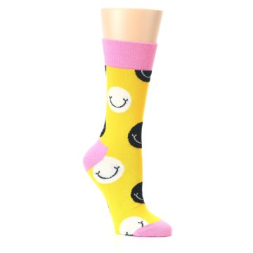 Image of Yellow Smiley Face Women's Dress Socks (side-1-27)