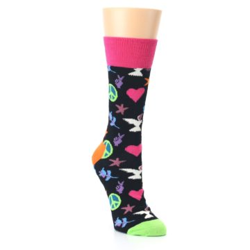 Image of Black Multi-Color Peace Love Women's Dress Socks (side-1-front-02)